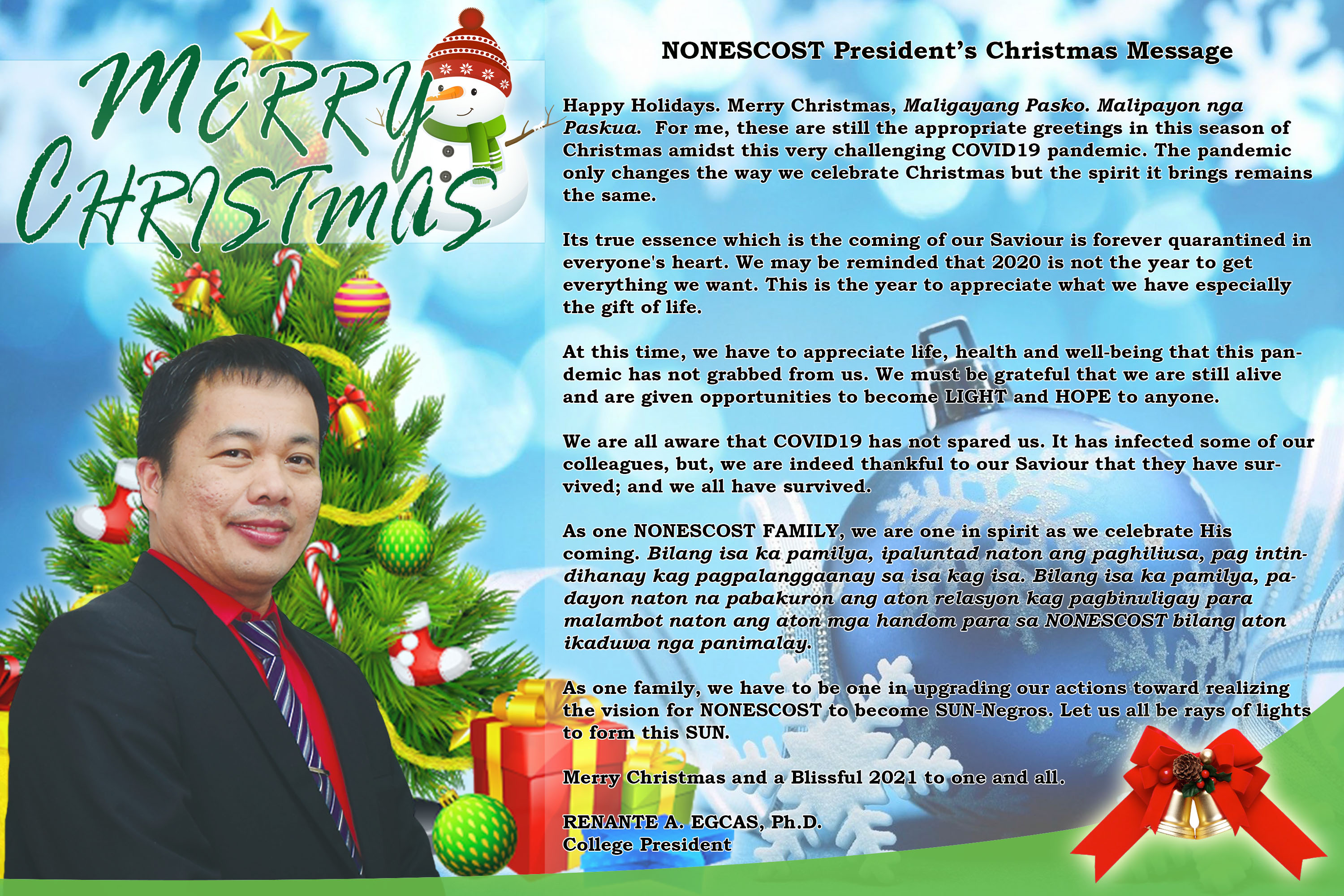 Christmas Greetings from the College President